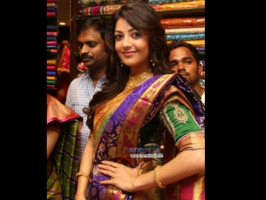 Kajal In Different Colour Saree