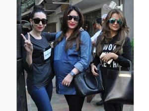 Heavily Pregnant Kareena Kapoor Flaunting Baby Bump Denims