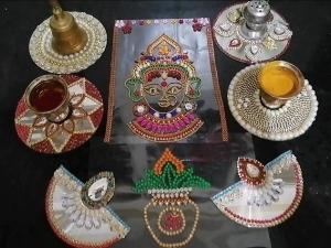 Kundan Decoration Idea For Varamahalaxmi Festival