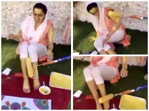 Video Of Woman Applying Turmeric On Bride With A Paint Roller Goes Viral