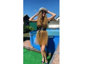 Girl Wears Her Long Hair As Dress Video Goes Viral On Social Media