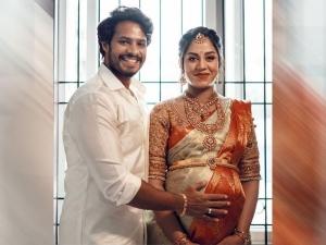 Nikhil Kumar Wife Revathi S Baby Shower Ceremony Saree Looks